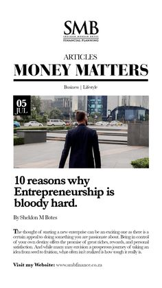The thought of starting a new enterprise can be an exciting one as there is a certain appeal to doing something you are passionate about. Money Matters, Financial Planning, Food For Thought, Entrepreneurship, Something To Do, Passion, Thoughts, Business, Blog