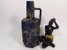 Vintage Fat lava Vase von Ruscha in dunkel Blau, Krug, Modell R-16, Heinz Siery, 1970 von ShabbRockRepublic auf Etsy