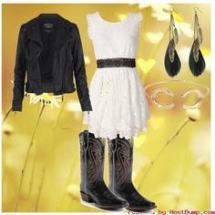 I love the girly dress. Cowgirl chic!