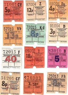 Poor Quality - Link no longer available Vintage British Bus Tickets 12 for Collage, Travel Journals Papel Vintage, Vintage Paper, Journal Stickers, Scrapbook Stickers, Vintage Labels, Vintage Ephemera, Ticket Design, Vintage Typography, Aesthetic Stickers