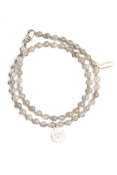 Summer Bracelet | labradorite lotus charm double wrap bracelet by Tess+Tricia