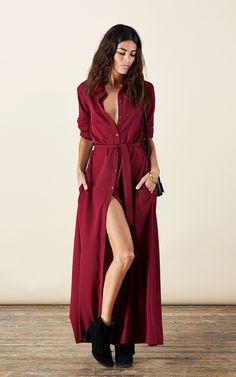 Maxi shirt dress in oxblood by Dancing Leopard Product photo Red Shirt Dress, Long Sleeve Shirt Dress, Blouse Dress, Button Dress, Dress Red, Dress Long, Tall Girl Fashion, Trendy Fashion, Shabby Chic