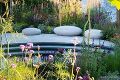 Gold Medal winning Garden by Tom Simpson Garden Design at RHS Hampton Court. The garden won the People's Choice Award Landscape Design, Garden Design, Tom Simpson, Timber Posts, Rhs Hampton Court, Cancer Research Uk, Polished Concrete, Flower Show, Hedges