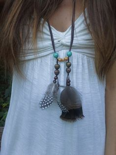 Young Wild and Free, Feather Necklace, Boho, Bohemian necklace, Native American necklace, Guinea Fowl, Feather, Turquoise, native american