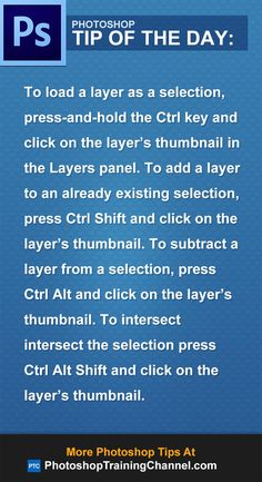 To load a layer as a selection, press-and-hold the Ctrl key and click on the…