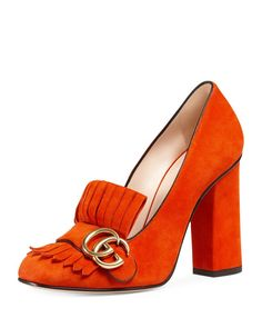 Gucci Marmont Fringe Suede Loafers in Sun Orange