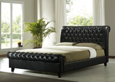 Brown Leather King Size Bed £269