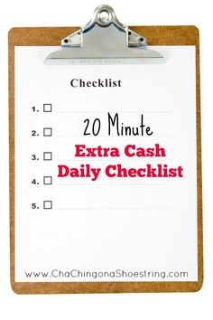 Join the 20 Minute Extra Cash Challenge! Use this handy Daily Checklist to find the best ways to earn extra cash online in just minutes each day!