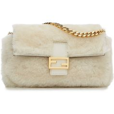 Fendi Micro Baguette Shearling Shoulder Bag ($825) ❤ liked on Polyvore featuring bags, handbags, shoulder bags, white, white shoulder bag, shoulder strap bags, white purse, pocket tote and white tote