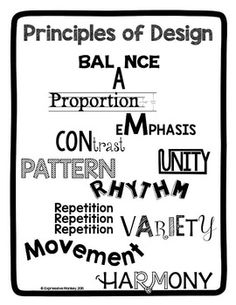 Visual representation of elements and principles of design