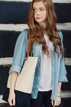 Leather and Canvas Tote / Color Block Tote