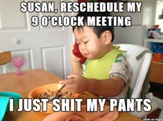 Holding a business meeting over breakfast.   19 Heinous Acts That Prove Babies Are Masters Of Crime