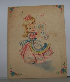 Vintage Greeting Card Circa 1950 Adorable Little Girl Doing Dishes Singing Dress | eBay Hallmark Greeting Cards, Valentine Greeting Cards, Vintage Greeting Cards, Bear Valentines, Horse Carriage, Sweet Notes, Cute Little Girls, Little Books, Housewife