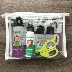Hedgehog Gift Set includes Shampoo, Cage Cleaner, Nail Clipper and Sticker Sheet – Hedgehogs and Friends Pygmy Hedgehog Cage, Hedgehog Bath, Hedgehog Food, Cute Hedgehog, Hedgehog Supplies, Hedgehog Accessories, Baby Skunks, Homemade Cat Toys, Guinea Pig Toys