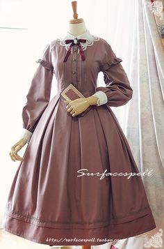 """Little Dorit"" Victorian Vintage Off-shoulder long sleeve OP by Surface Spell (Taobao) Pretty Outfits, Pretty Dresses, Beautiful Dresses, Cute Outfits, Emo Outfits, Kawaii Fashion, Lolita Fashion, Cute Fashion, Rock Fashion"