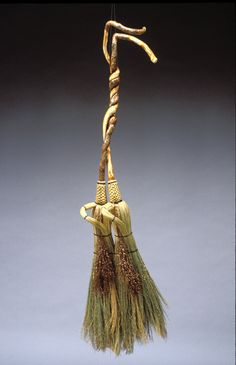 Double Bittersweet Fairy Duster. The handle for this piece came from the campus of the John C. Campbell Folk School in Brasstown, NC. Handmade. Friendswood Brooms.