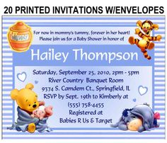 20 Winnie the Pooh Baby Shower Invitations with by FAVORSXPRESS