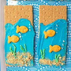 Dollar Tree's Loyalty Program Ocean Theme Snacks, Ocean Themed Food, Beach Theme Food, Ocean Food, Gram Crackers, Fish Crackers, Fish Snacks, Snacks Kids, Beach Treats