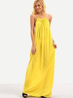 Halter+Neck+Drop+Armhole+Loose-Fit+Dress+-+Yellow+17.99