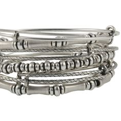 Alex and Ani Bamboo Beaded Expandable Wire Set - Russian Silver ($158) ❤ liked on Polyvore