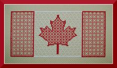Canada Flag Blackwork Pattern, Canadian Maple Leaf Counted Thread Embroidery Chart, Red & White Canada Cross Stitch Pattern Instant Download