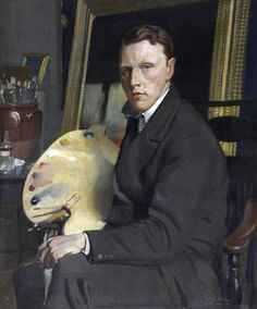 """""""Self-Portrait"""" by William Oliphant Hutchison (1889–1970), seated with palette in his art studio #workspace. #atelier #arthistory"""
