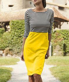 Yellow Stripe Guinea a Minute Sheath Dress by Shabby Apple #zulily #zulilyfinds