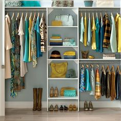 Could make this for bedroom. I Kea shelves in middle, long shelf on top so that airflow is not compromised from vent, curtain rod in front, double hanging clothes row