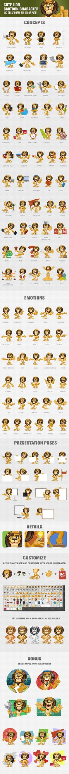 Cute Lion Cartoon Character