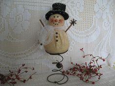 Primitive Snowman Nodder on Rusty Spring - Winter Snowman Make Do, Snowman Tree Topper, Bowl Filler on Bed Spring, Rustic Chic Tree Topper. $9.99, via Etsy.