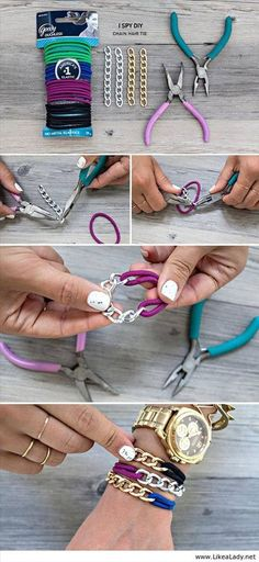 https://www.facebook.com/ReScape.com | Chain and Hair Tie Bracelet! Great for gifts or stocking stuffers!