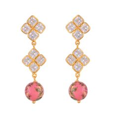 Golden pink rosecut stone japanese painting delicate earring