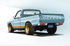 Datsun 620 PU (for the oclours) Mini Trucks, Cool Trucks, Cool Cars, Datsun 510, Car Illustration, Illustrations, Classic Trucks, Classic Cars, Maserati