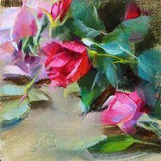 "Daily Paintworks - ""Rosebuds"" - Original Fine Art for Sale - © Pamela Blaies"