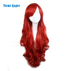 Your Style Synthetic Long Wavy Cosplay Womens Wig For Party Costume Red Natural Scalp Hair Wig Heat Resistant Fiber