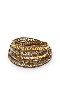 I adore these bracelets. Easy way to add some glamour by Chan Luu Bead & Chain Wrap Bracelet.