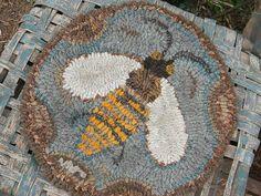 Honeybee Chair Pad rug hooking pattern - Paper or Linen - from Notforgotten Farm™