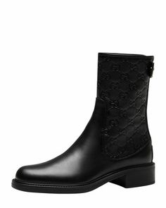 Short Boots: Maud Leather Guccissima Ankle Boot, Black by Gucci