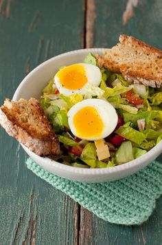 salad with irish soda bread and a soft-boiled egg