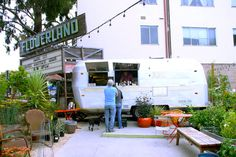 Albany's Local 123 cafe located within Flowerland nursery. One of our favorite repurposed Airstreams! Photo by Diana Budds http://www.dwell.com/articles/coffee-break-albanys-local-123.html#