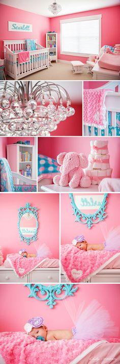Pink and aqua girls room. @Lacy Hamilton