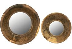 "Vintage Wood Framed Mirrors | Round Mirrors. $92. ANTIQUE FARMHOUSE. 16"" and 12"" diam"