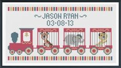 Zoo Train by Tiny Modernist features a little train with zoo animals in three cars.  It's a great pattern to celebrate a little boy's birthday or birth announcement.