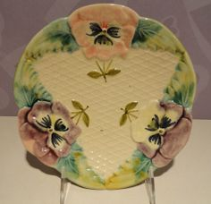 ANTIQUE MAJOLICA PANSY PLATE - FRANCE