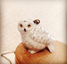 Harry Potter Inspired Hedwig Necklace. Miniature Woodland Owl. Snow Owl. Wild Bird. Wizard. Magic. Hogwarts. Small Porcelain Animal Gift