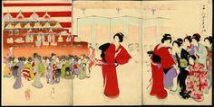 Houtsnede drieluik door Toyohara Chikanobu (1838-1912) - Gran hina doll festival - Japan - ca. 1895  EUR 25.00  Meer informatie