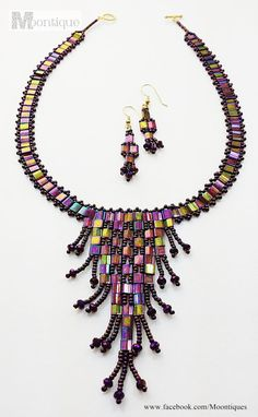 Tila Beaded Necklace with Earrings. by Moontique on Etsy.