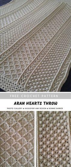 Crochet Afghans 442197257160971619 - Aran Hearts Crochet Throw Source by cecilecrea Crochet Afghans, Crochet Throw Pattern, Afghan Crochet Patterns, Crochet Stitches, Crochet Hooks, Crochet Baby, Free Crochet, Knitting Patterns, Crotchet