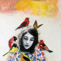 Kai Fine Art is an art website, shows painting and illustration works all over the world. Art Du Collage, Painting Collage, Mixed Media Collage, Paintings, Art Et Illustration, Illustrations, Bird Art, Figurative Art, Altered Art