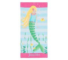 Classic Blonde Mermaid Beach Towel | Pottery Barn Kids